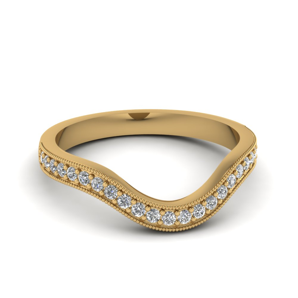 Curved Wedding Bands: Milgrain Pave Curved Diamond Wedding Band