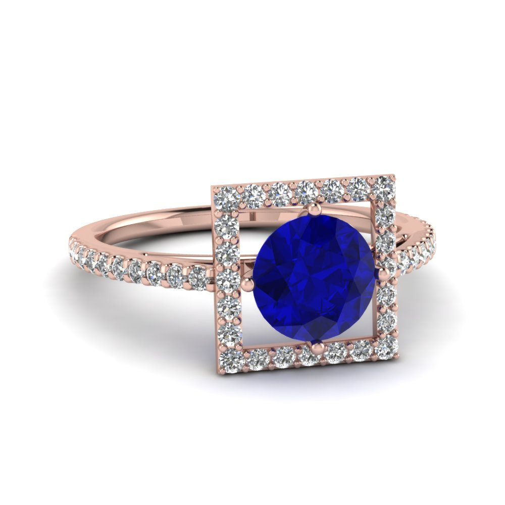 Round Sapphire with Square Halo Gemstone Engagement Ring