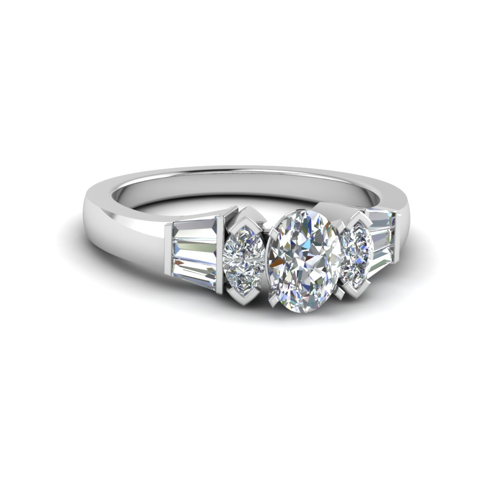 Oval Diamond Ring With Baguette Accents