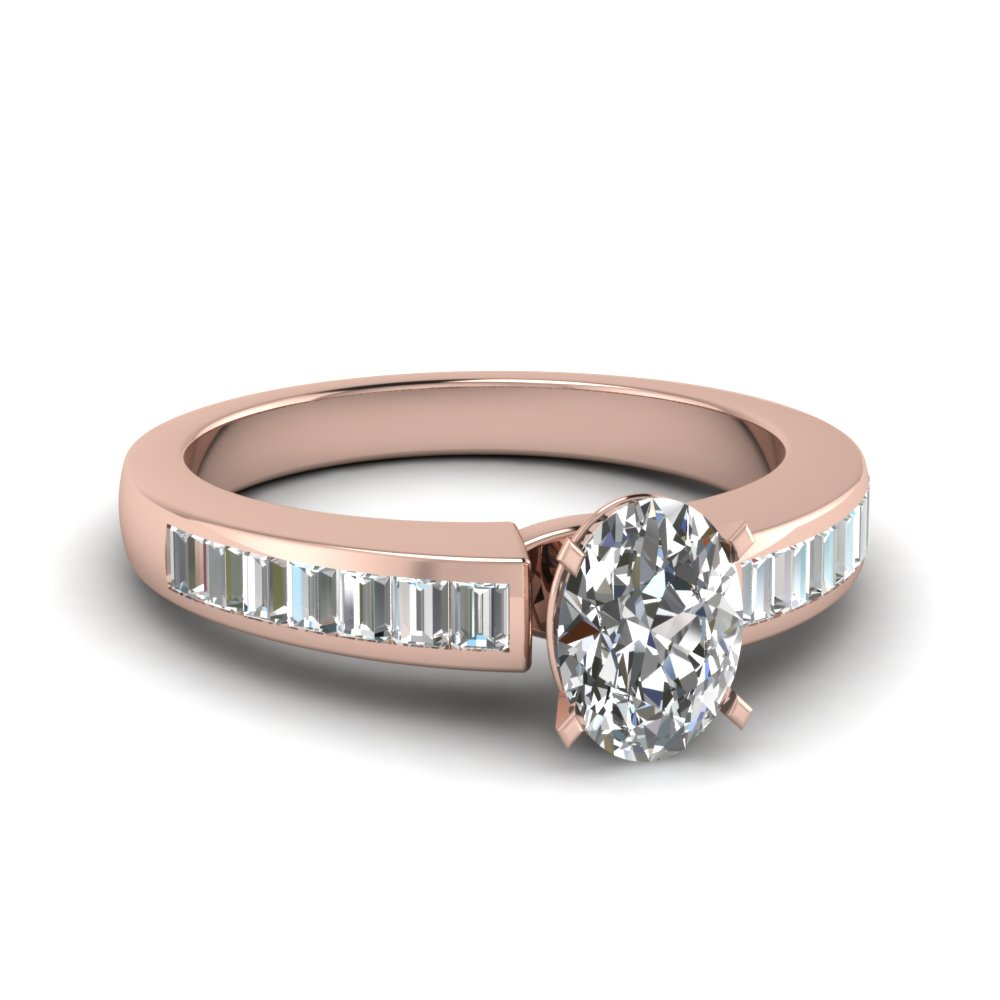 Channel Set Baguettes Accented Oval Cut Engagement Ring