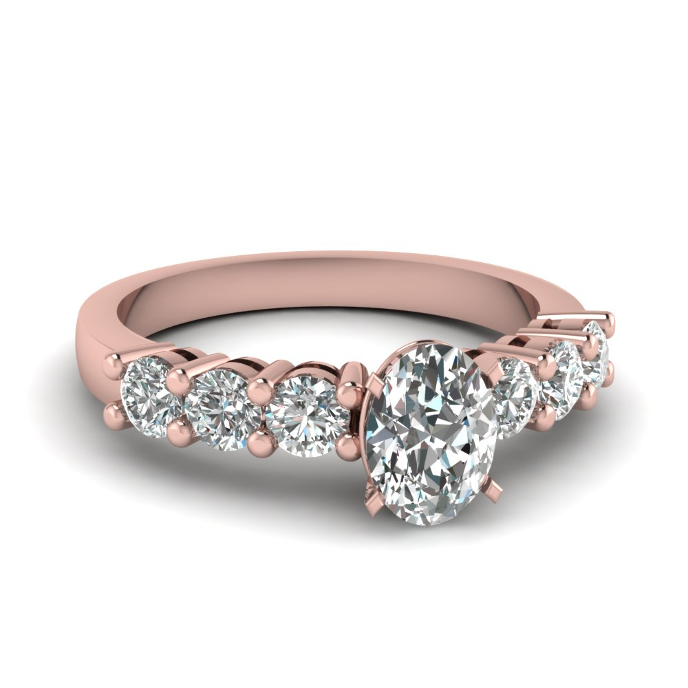 Diamond Accents Rose Gold Oval Diamond Engagement Ring