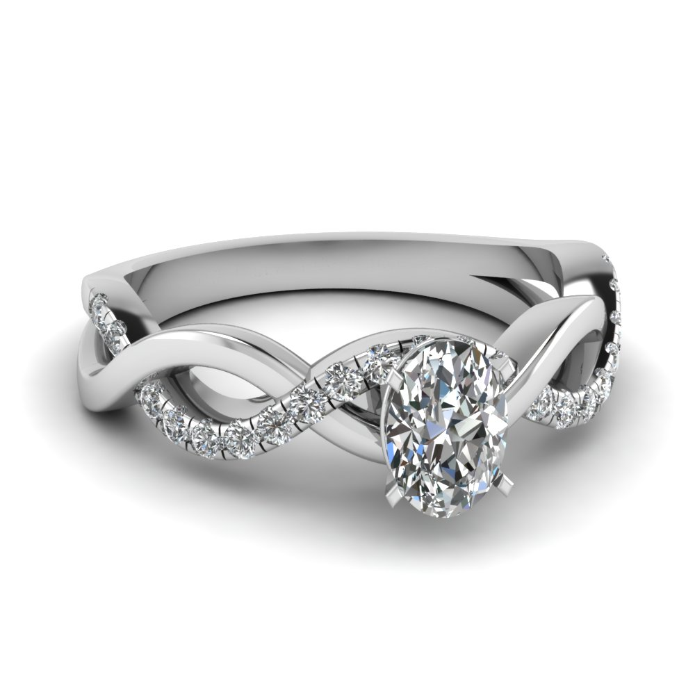 White Gold Oval Diamond Infinity Ring