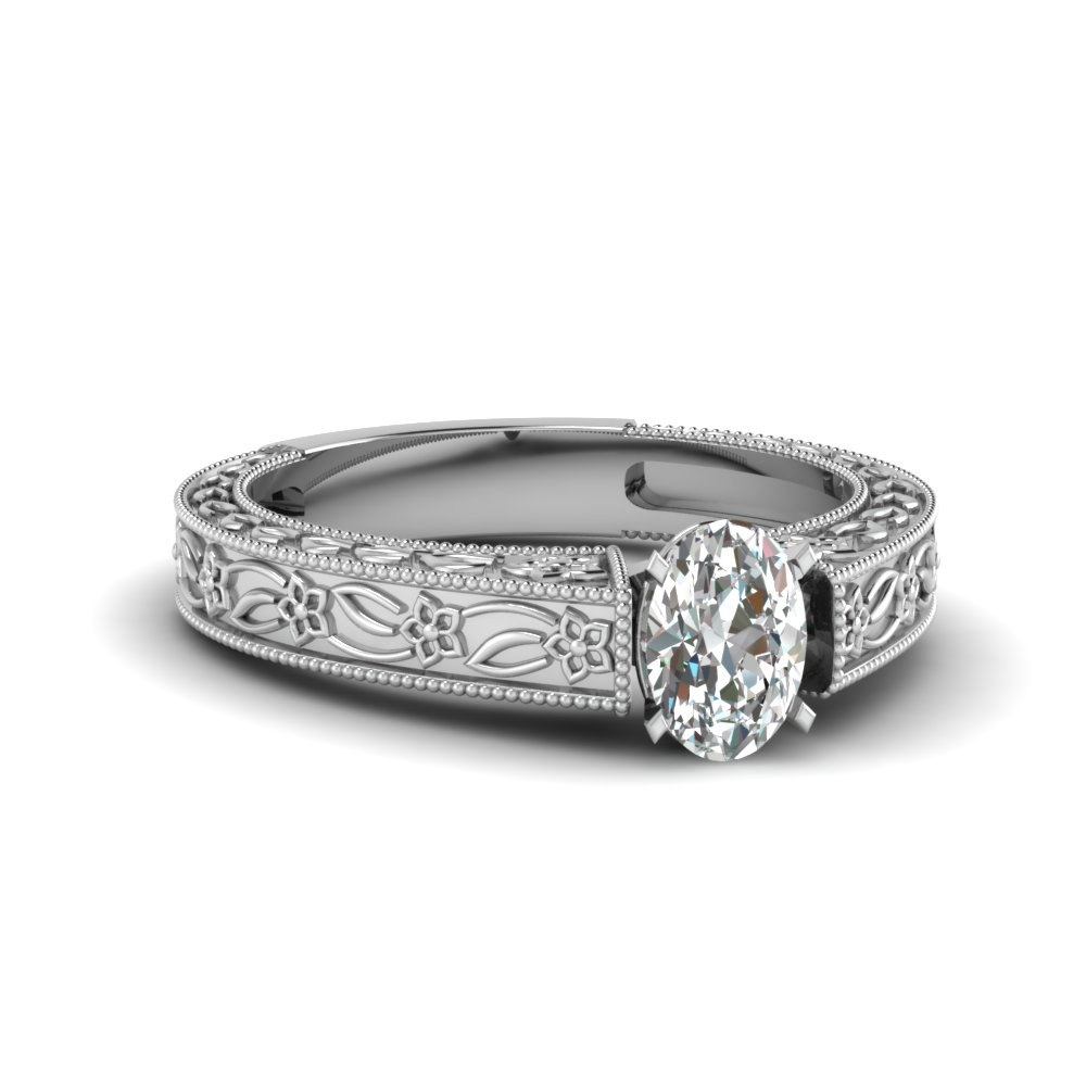 Filigree solitaire vintage diamond engagement ring