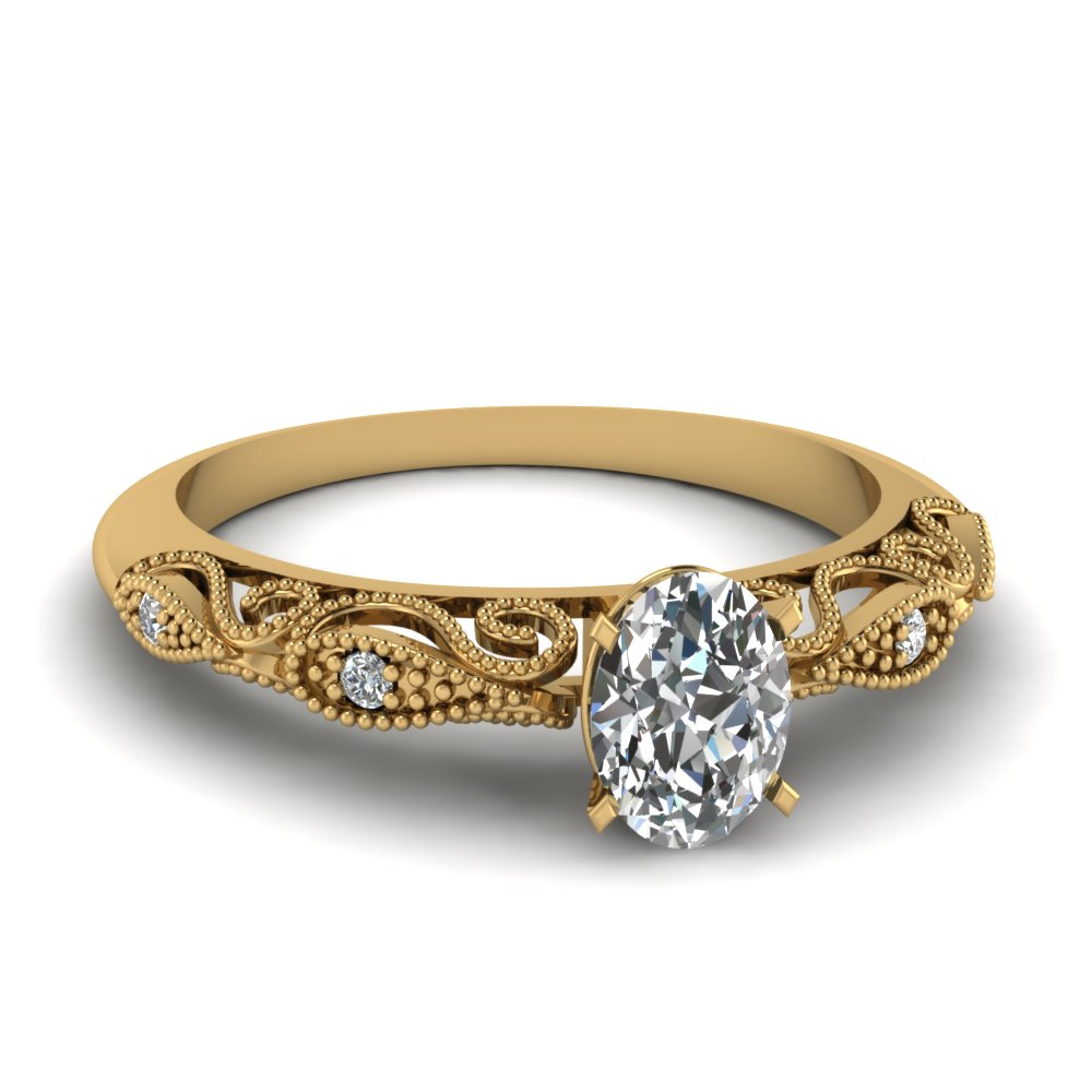 Yellow Gold Filigree Engagement Ring