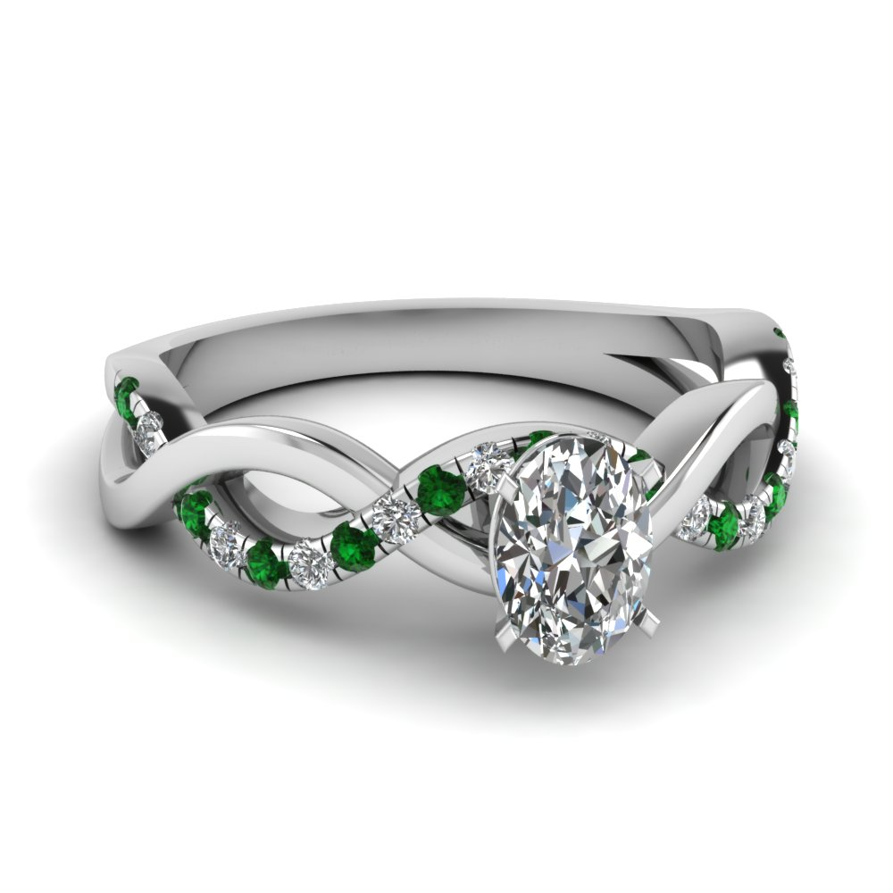 Oval Diamond Emerald Twist Style Ring