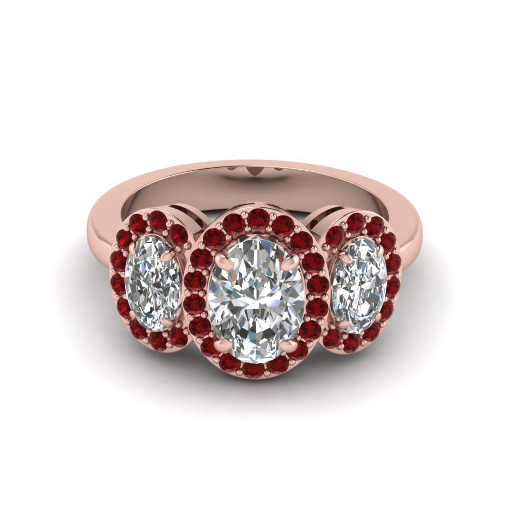 Three Stone Oval Halo Ruby Accents Big Gemstone Engagement Rings for Women