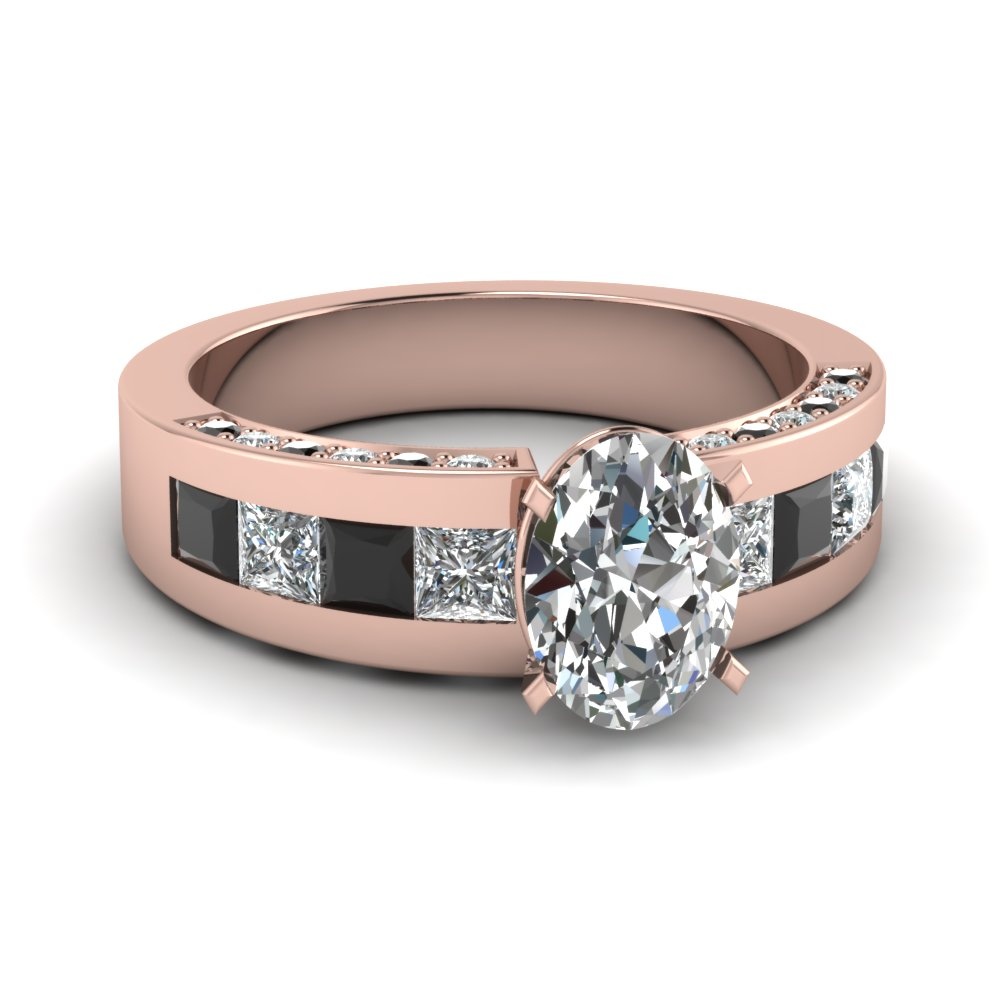 Thick Band Beautiful Rose Gold and Black Diamond Wedding Ring
