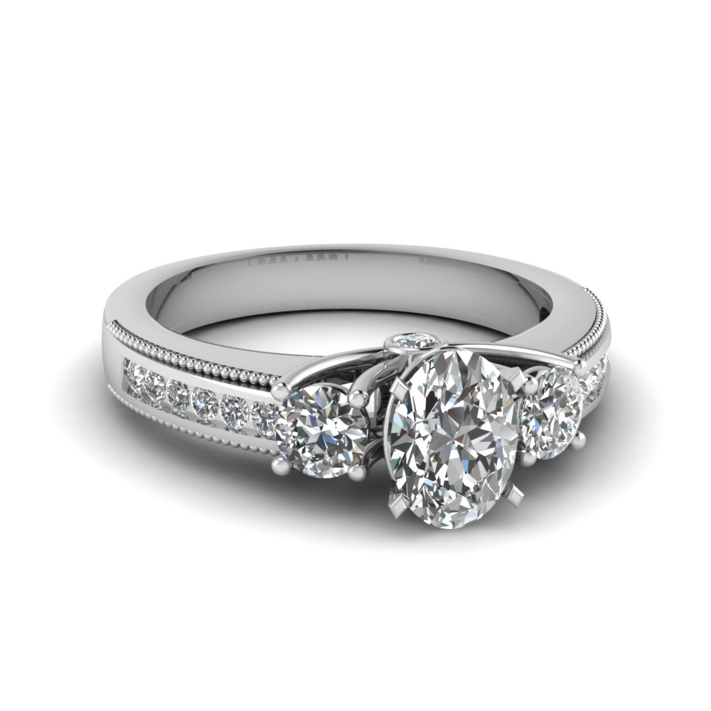 Milgrain Diamond Engagement Ring