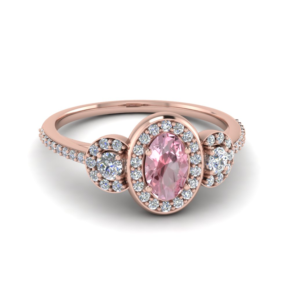 Rose Gold Morganite and Diamond Halo Gemstone Engagement Ring