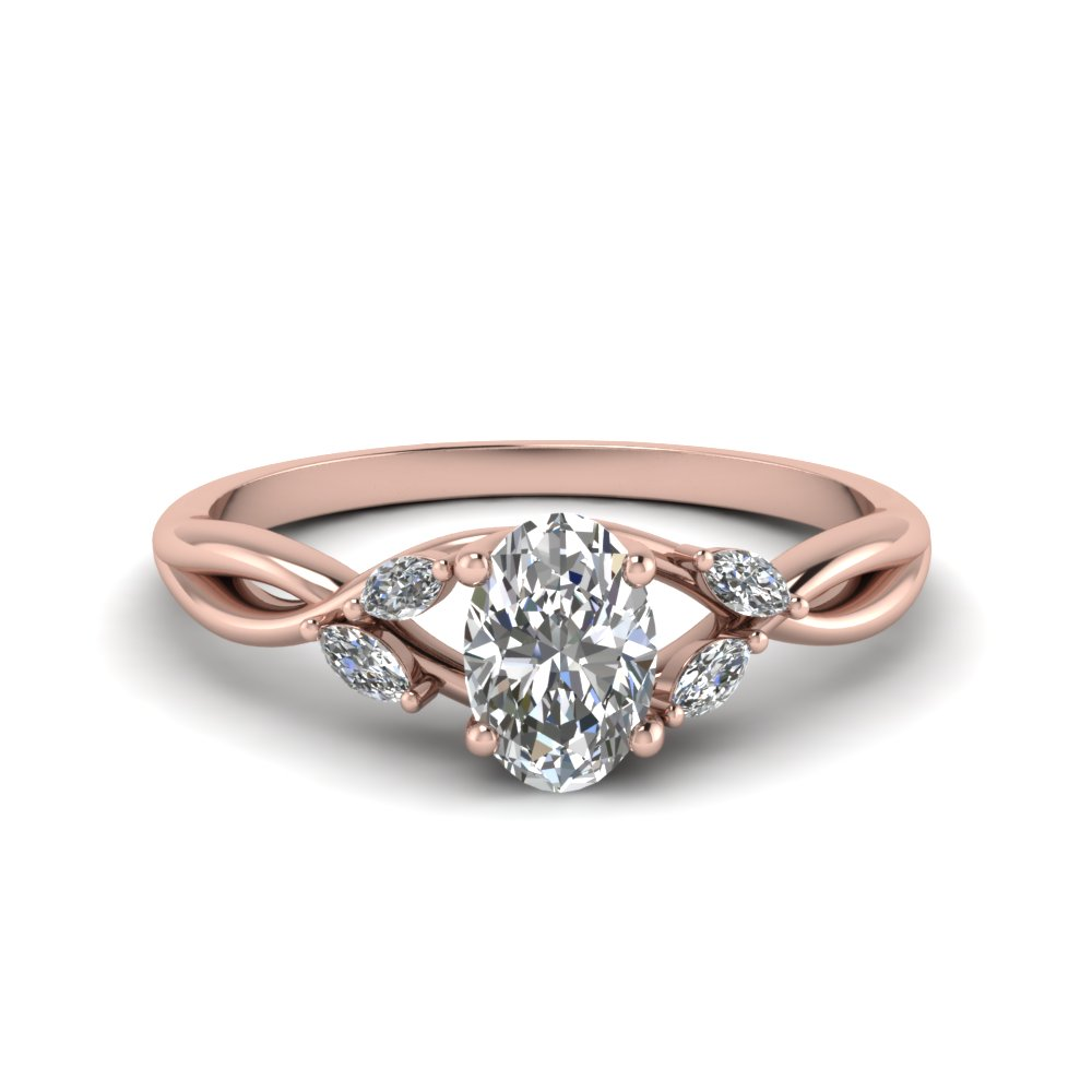 oval shaped twisted petal diamond engagement ring in FD8300OVR NL RG