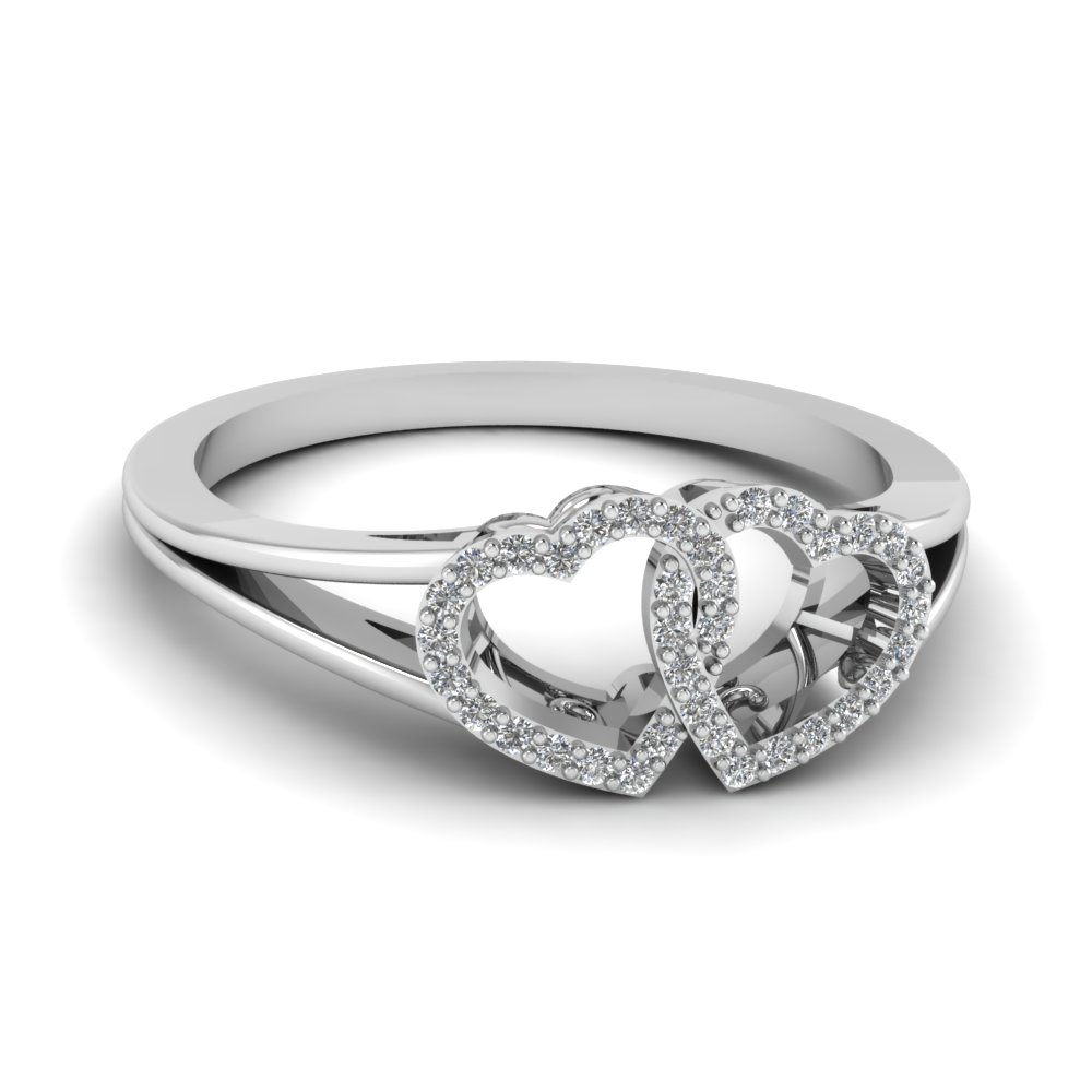 Interlinked Heart Diamond Ring