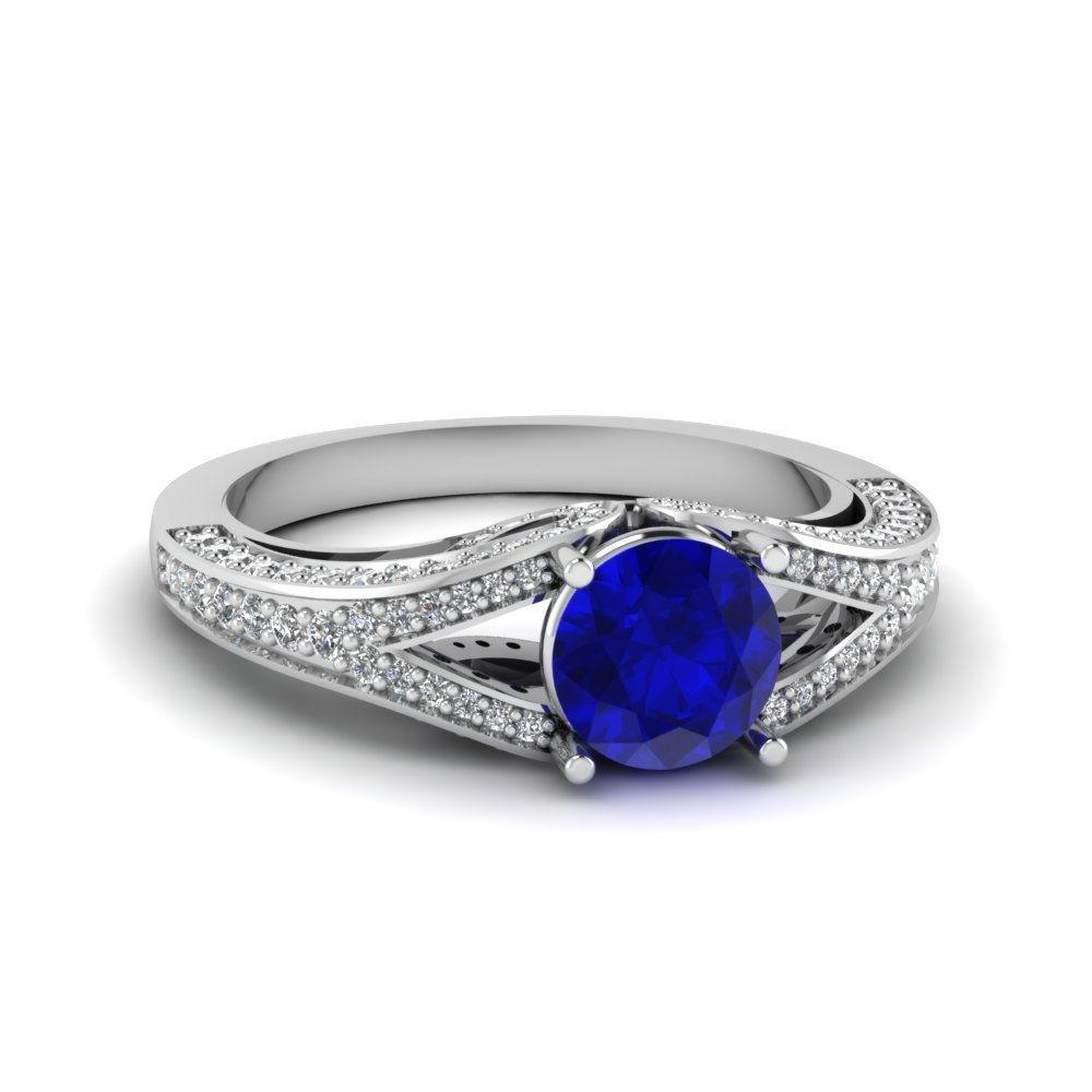 Sapphire Engagement Ring With Split Shank Pave Diamond in White Gold