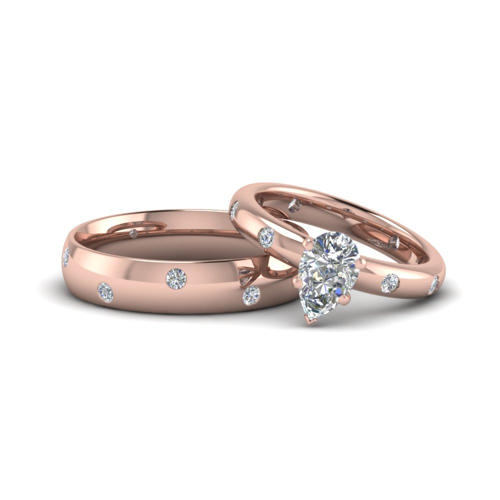 Pear Shaped Matching Diamond Ring For Wedding