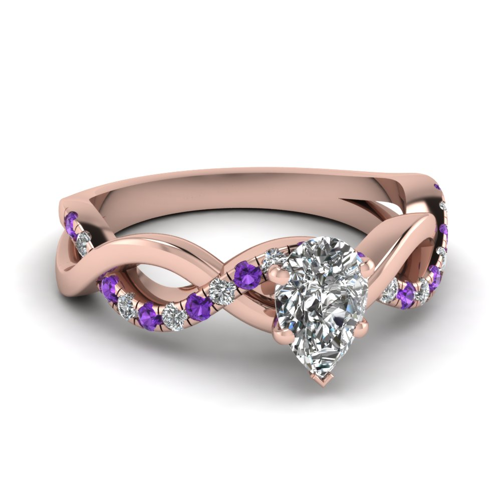 Pear Diamond Purple Topaz Infinity Ring