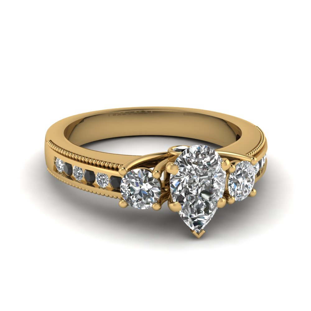 Black Diamond Yellow Gold Engagement Ring