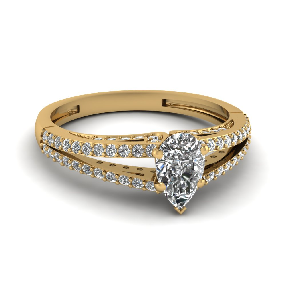 Yellow Gold Pear Diamond Split Shank Accents Engagement Ring