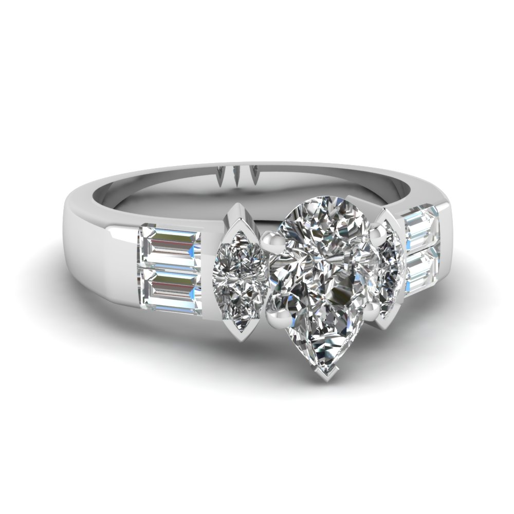Bar baguette Accent diamond Ring