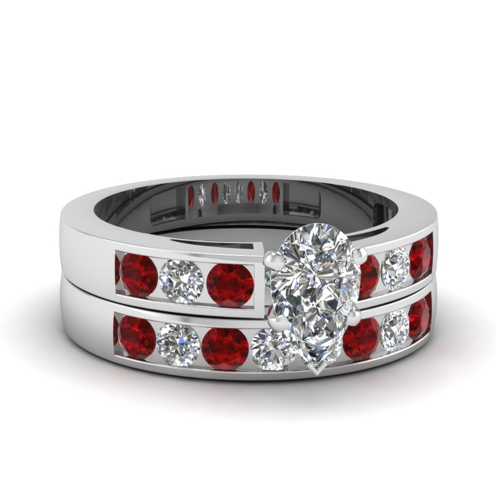 Pear Shaped diamond Wedding Ring Sets with Red Ruby in 14K White Gold