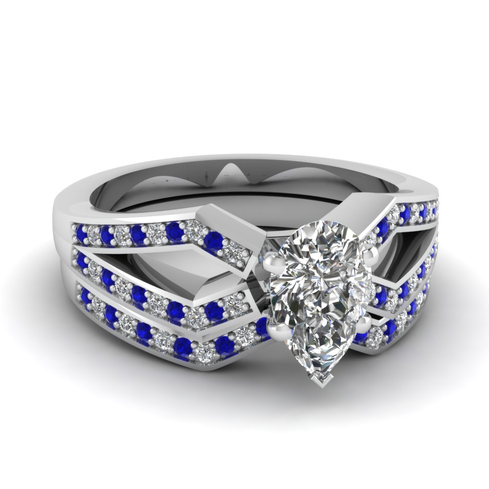 Pear Shaped Blue Sapphire Wedding Sets Engagement Rings