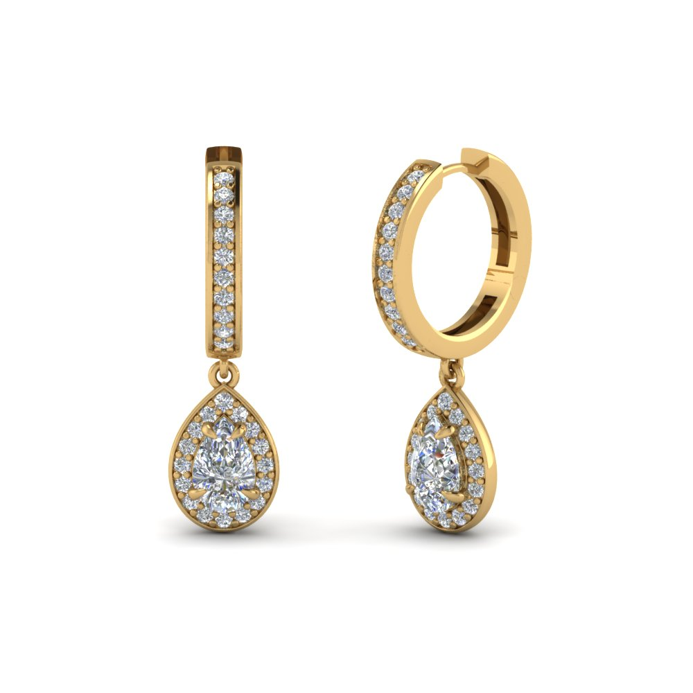 Gold Earring with White Diamond in 14K Yellow Gold