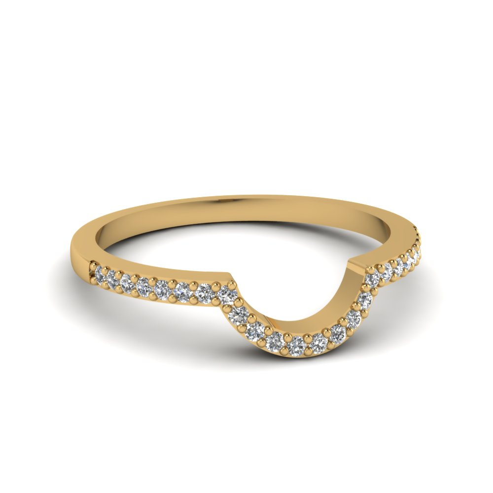 Curved Wedding Bands: Petite Curved Diamond Wedding Ring