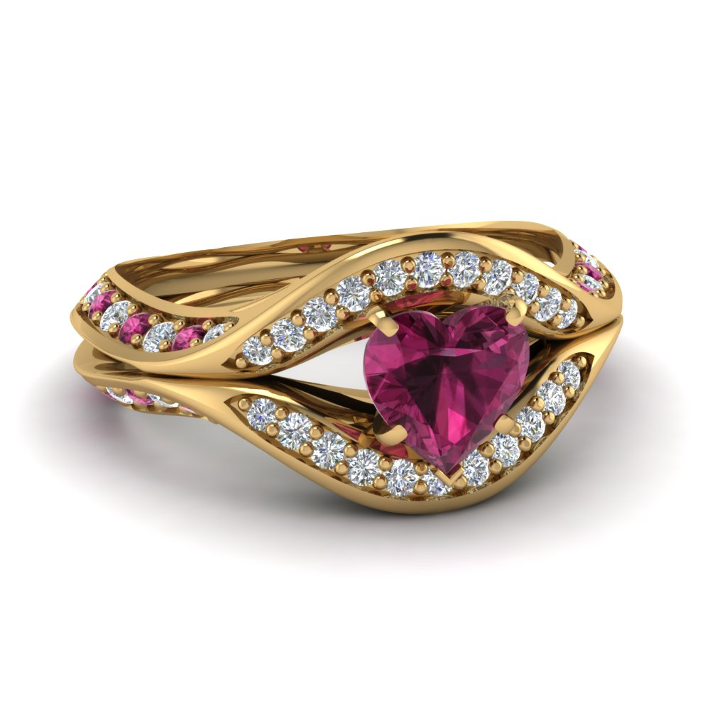 Yellow Gold Pink Sapphire Heart Exclusive Engagement Ring