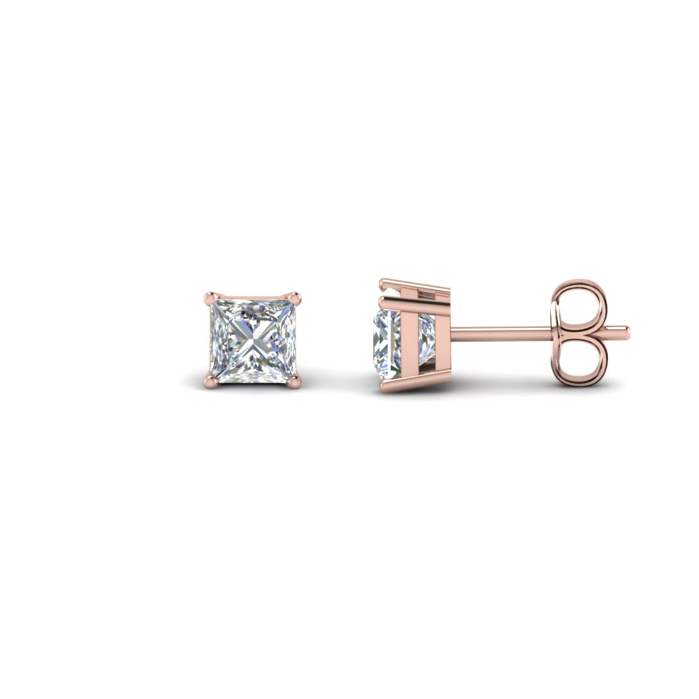1 Carat Princess cut Diamond Push Back Earring