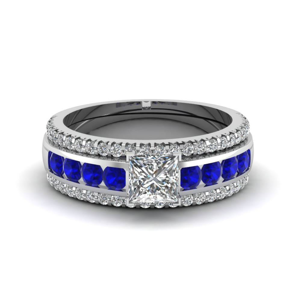 Beautiful Princess cut Sapphire Accents with 2 matching wedding bands