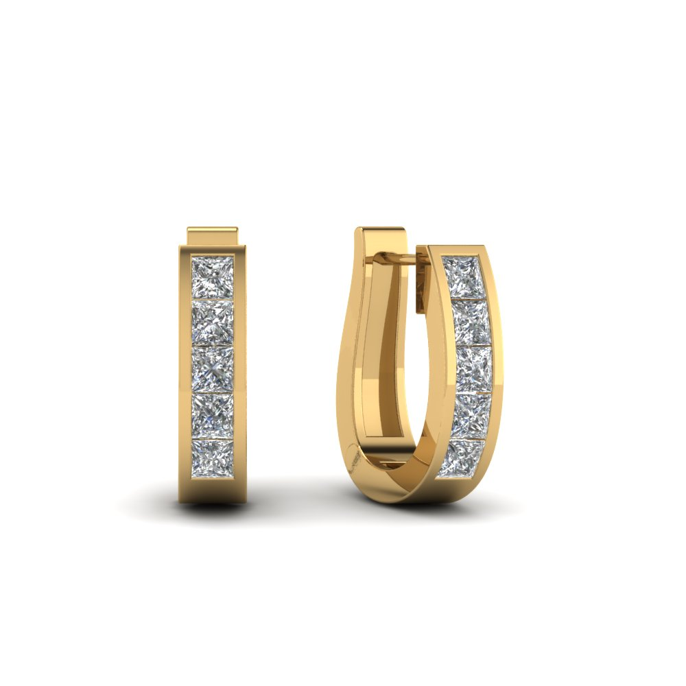 ½ carat Princess Cut Diamond Hoop Earring