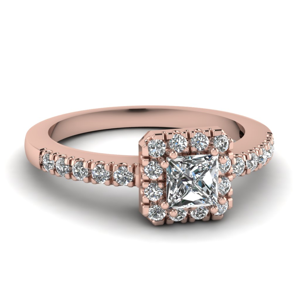 Square Halo Pink Gold Engagement Ring