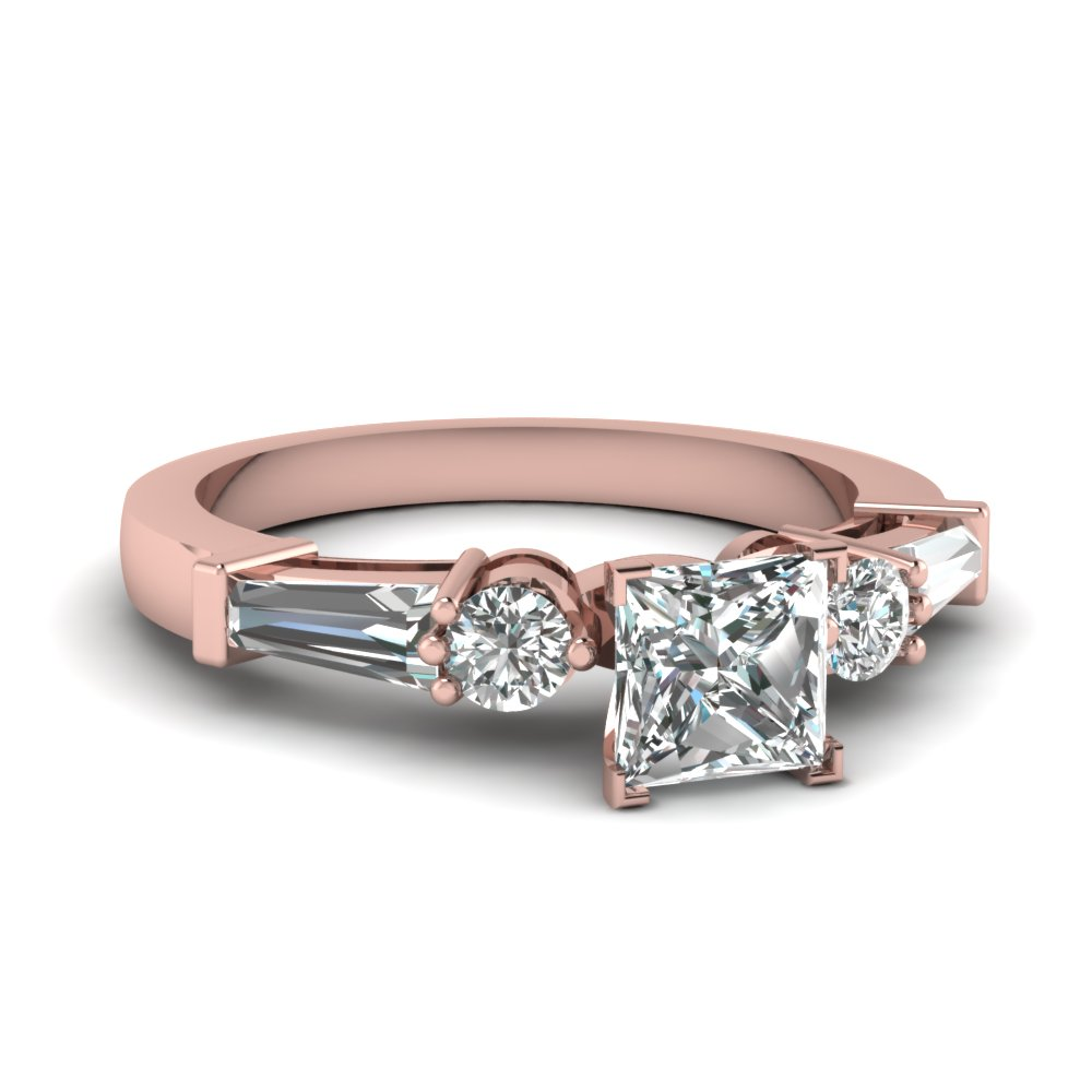 Baguette Accents 5 Stone Diamond Engagement Ring