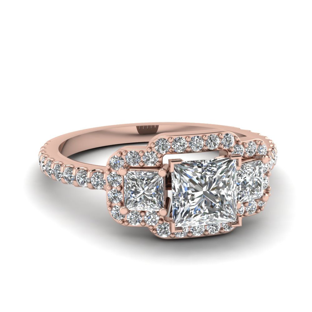 3 Princess Halo Pink Engagement Ring