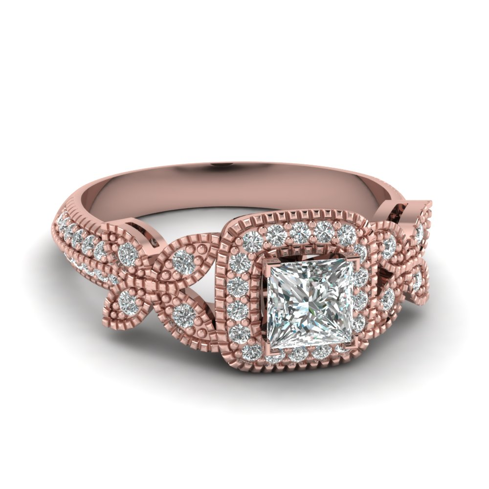 Princess Cut Butterfly Halo Diamond Ring In 14K Rose Gold