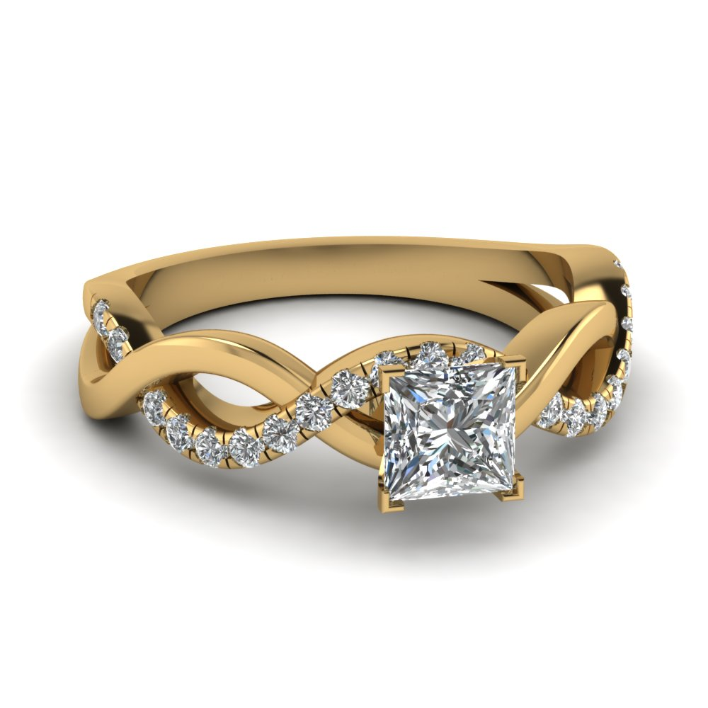 Yellow Gold Princess Cut Diamond Infinity Ring