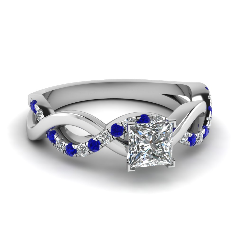 Princess Cut Round Cut Shared Prong Blue Sapphire Side