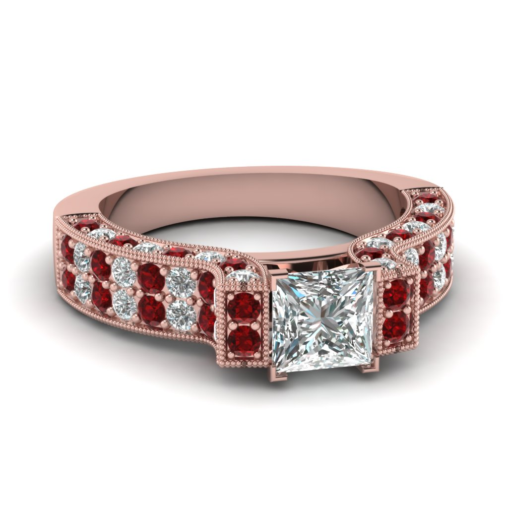 Vintage Pave Diamond And Ruby Engagement Ring