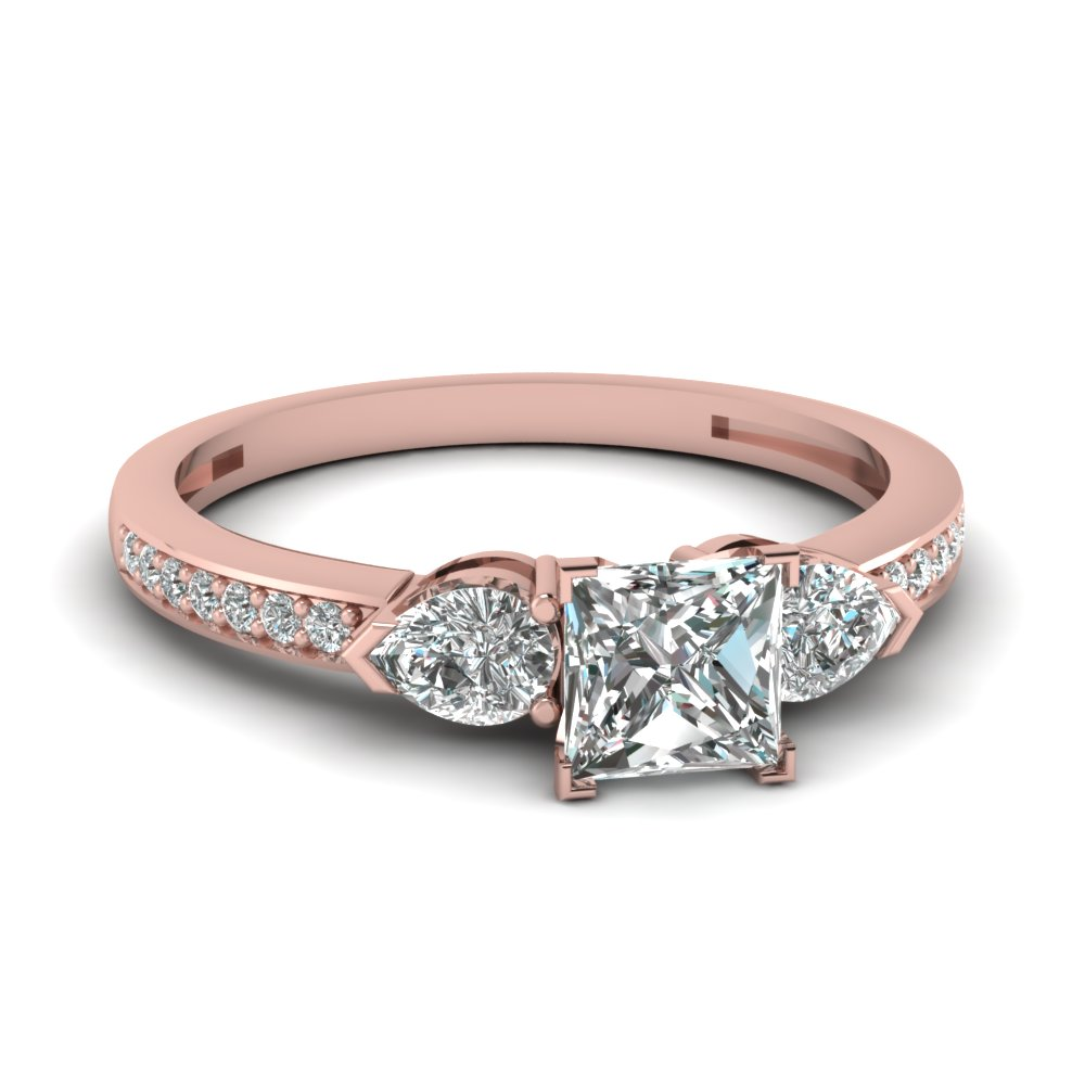Pave Side Stone Princess Diamond Petite Ring
