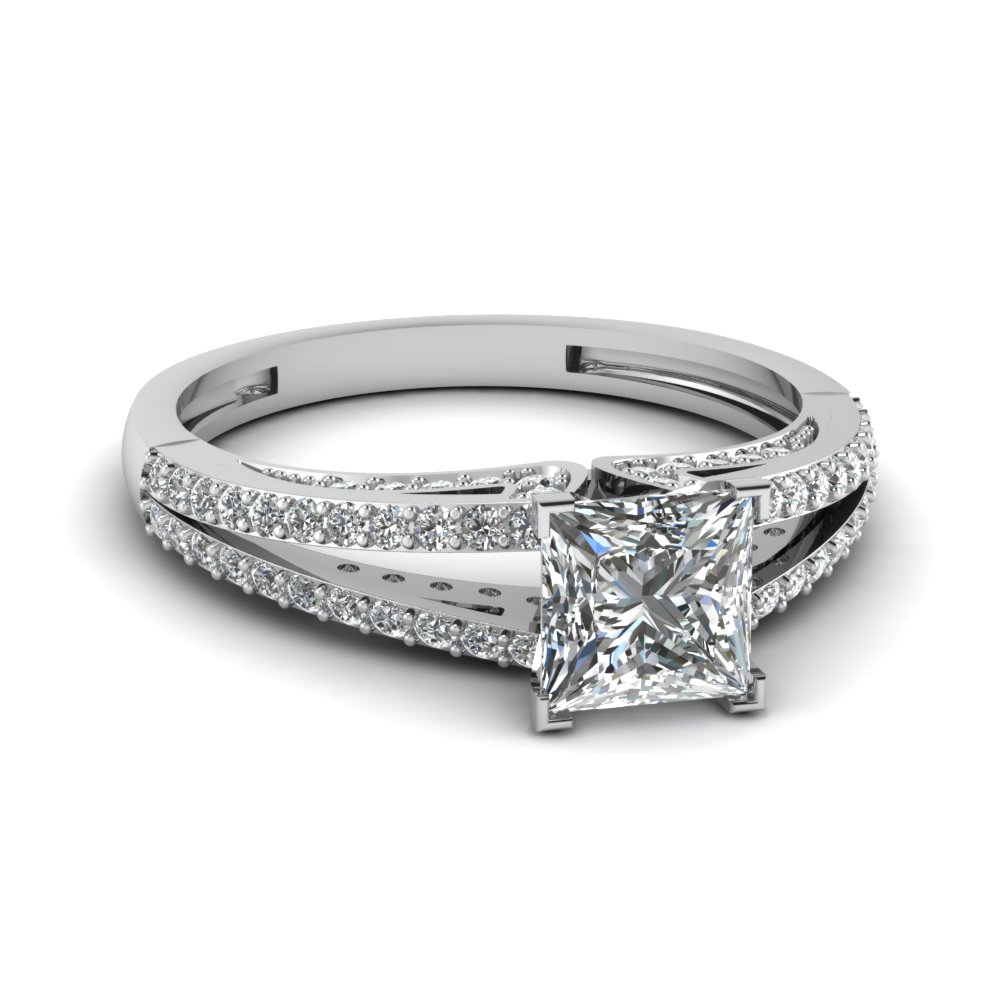 Split Style Engagement Ring In Platinum With Princess Cut Diamond
