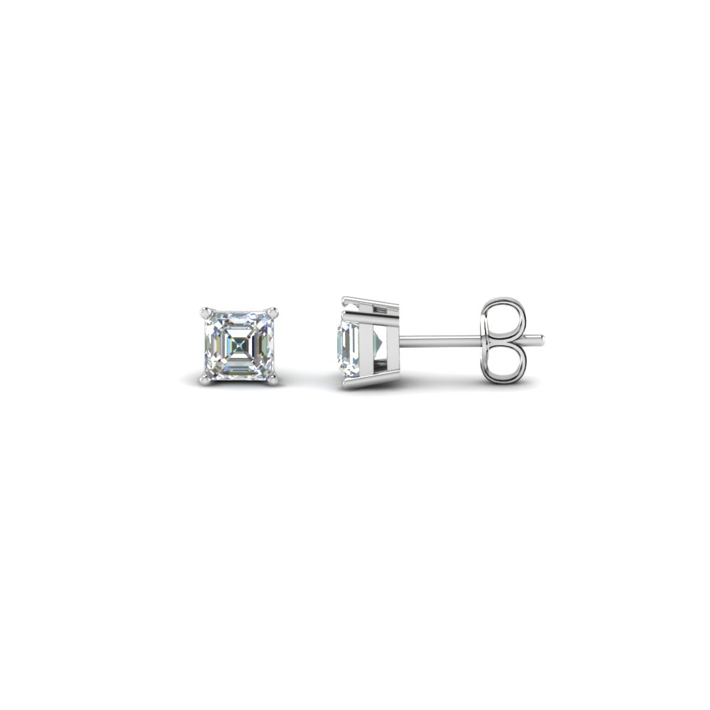 stud princess unisex men earrings diamond cz product magnetic basket sterling silver black square cut