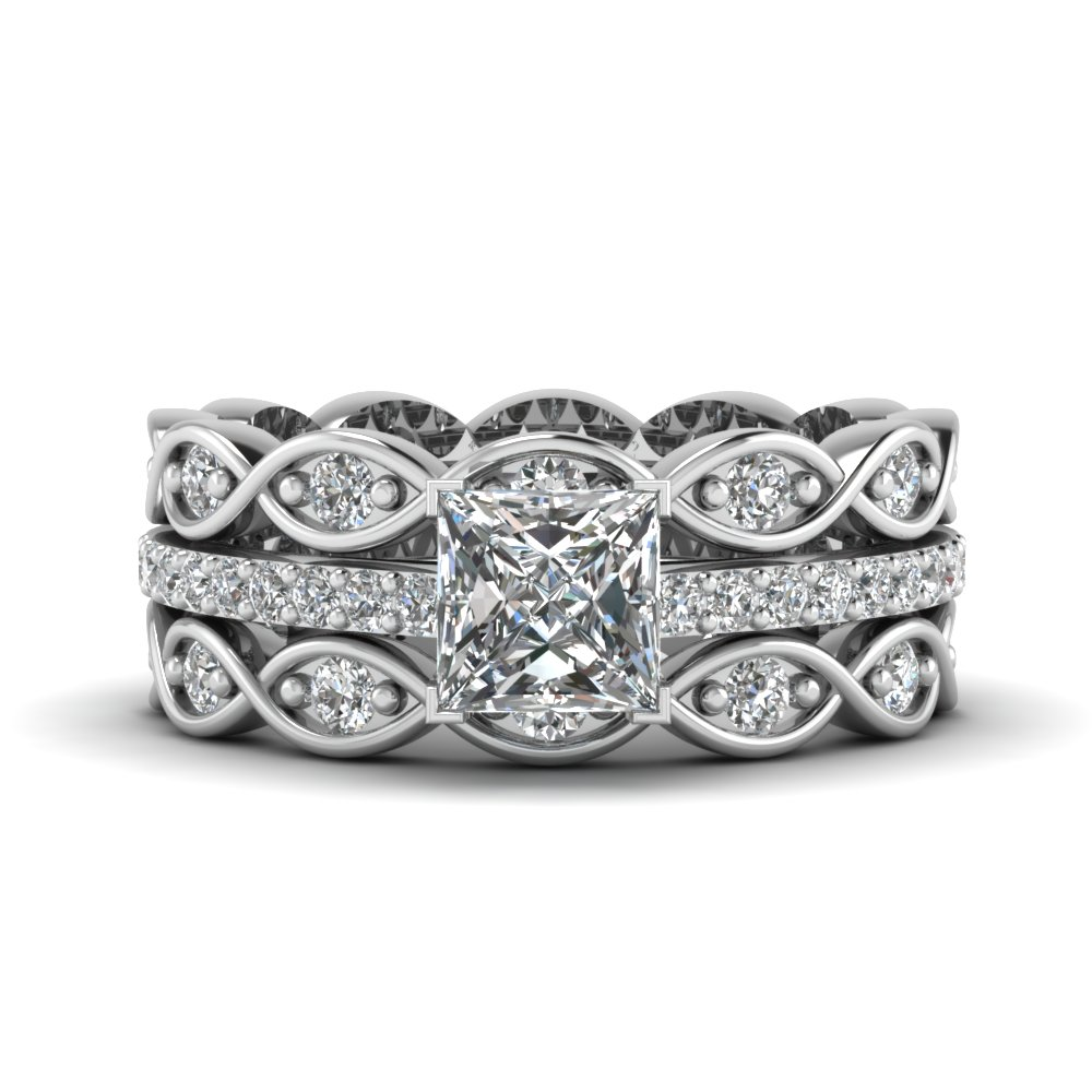 Princess Cut Infinity Band Diamond Ring Sets In 14k White Gold