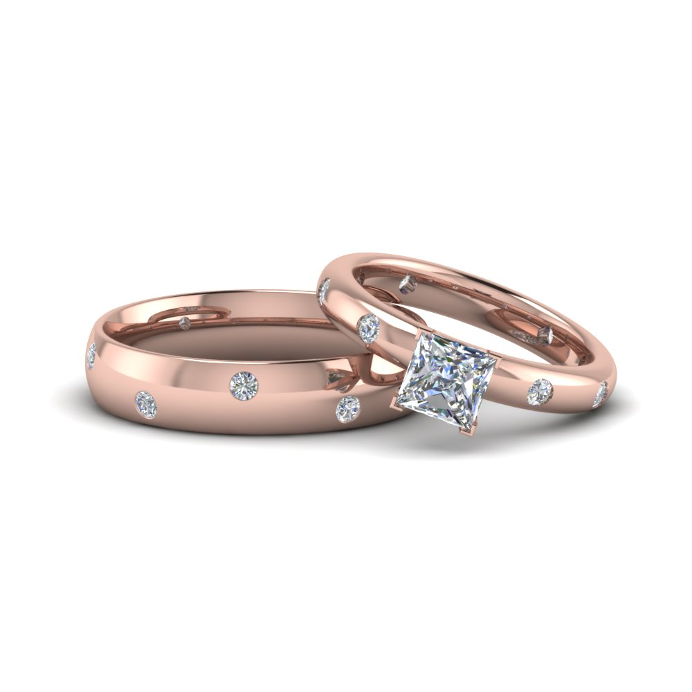 Princess Cut Matching Couple Wedding Rings