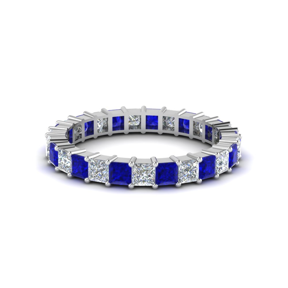 Princess Cut Shared Prong Diamond And Sapphire Eternity Band For Women
