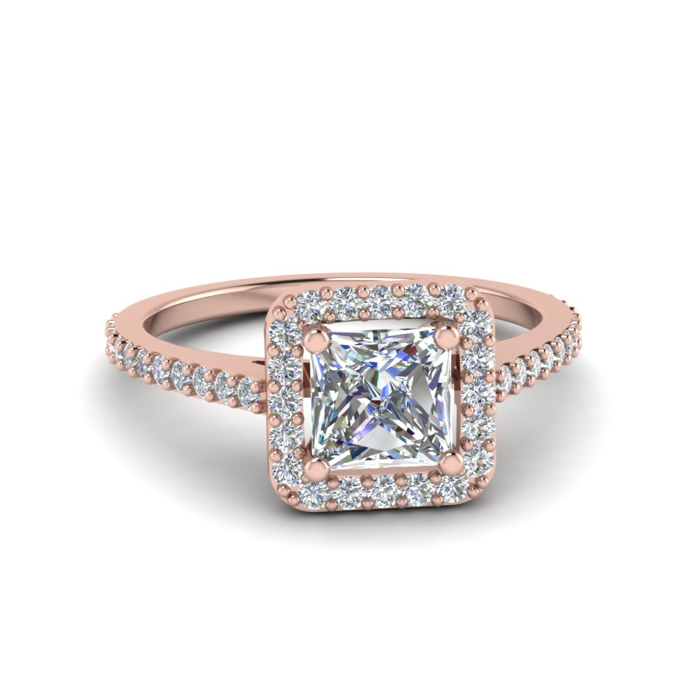 Princess Cut Square Halo Diamond Delicate Engagement Ring ...