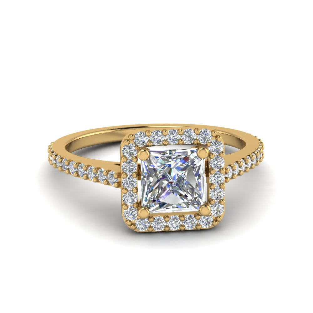 Princess Cut Square Halo Diamond Delicate Engagement Ring In 14K Yellow Gold