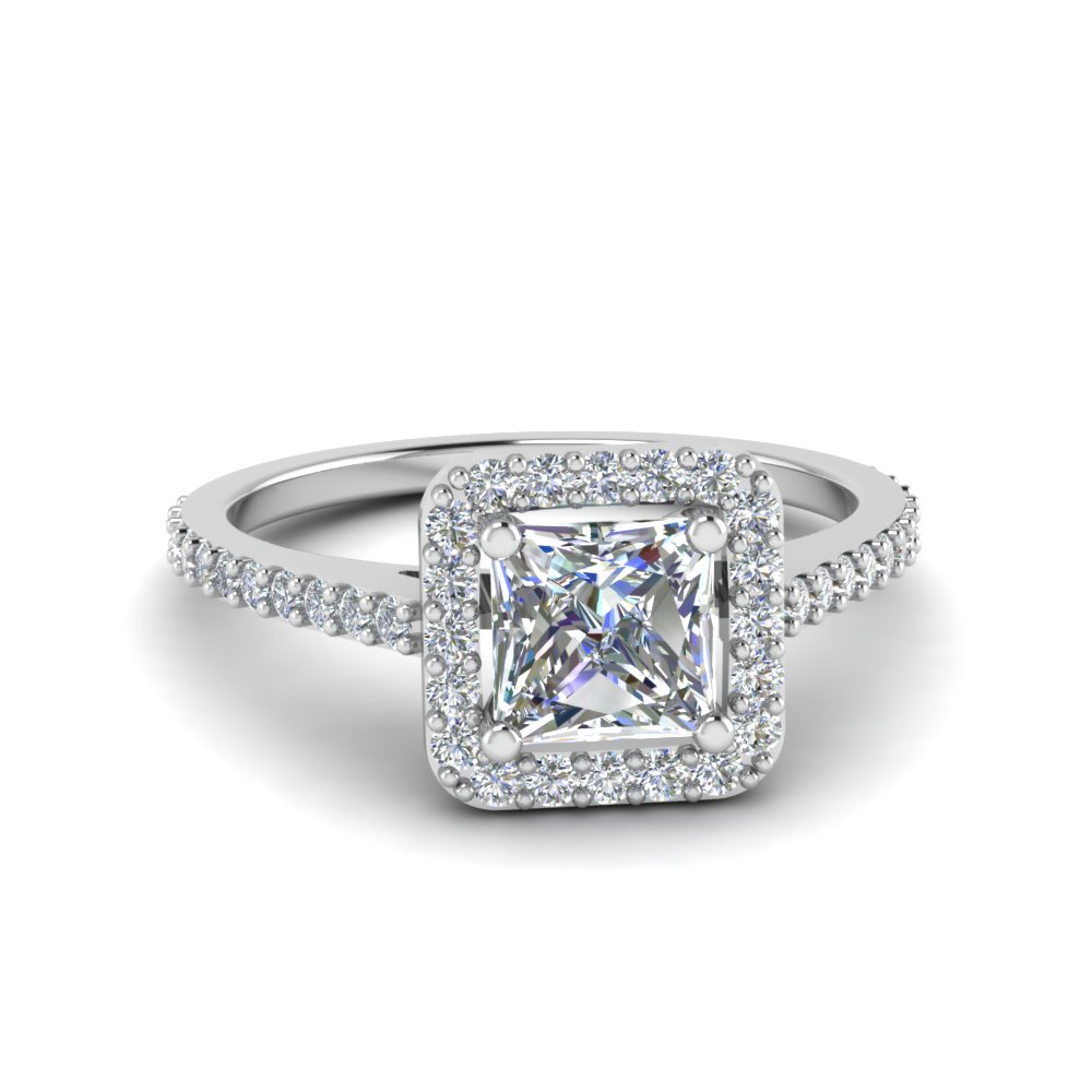 princess cut square halo diamond delicate engagement ring in 18K white gold FD8187PRR NL WG.jpg