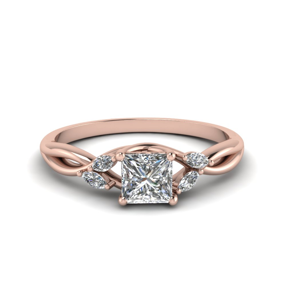 princess cut twisted petal diamond engagement ring in FD8300PRR NL RG