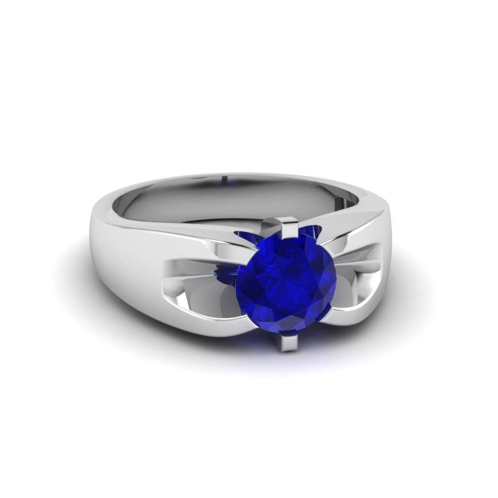 Single Sapphire Wedding Band For Men in white Gold