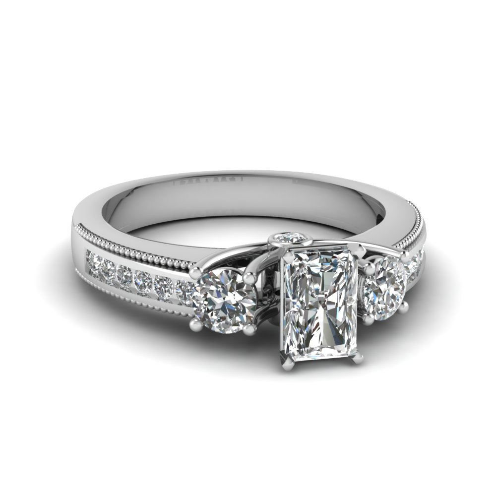 Radiant Cut 3 Stone Diamond Ring
