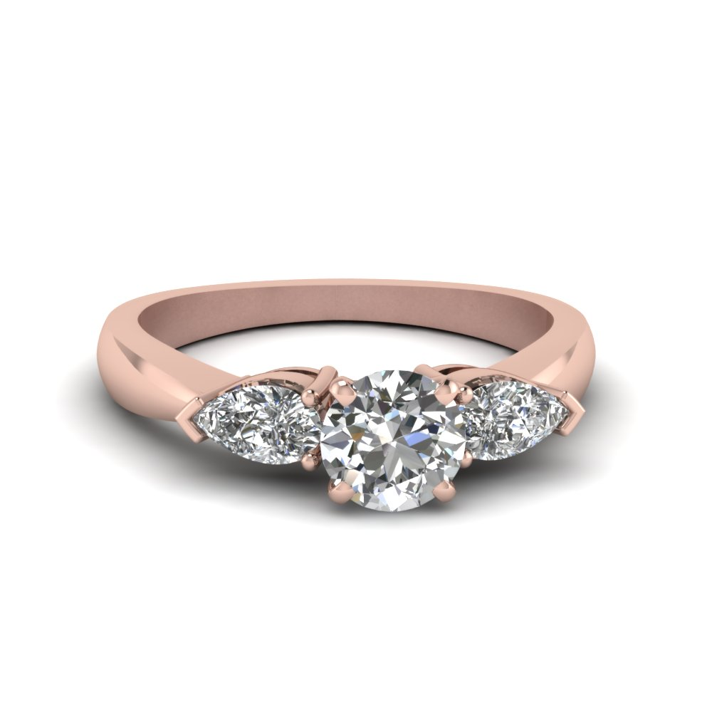 Stone Wedding Rings Round And Pear Diamond 3 Stone Engagement Ring In 14K Rose Gold