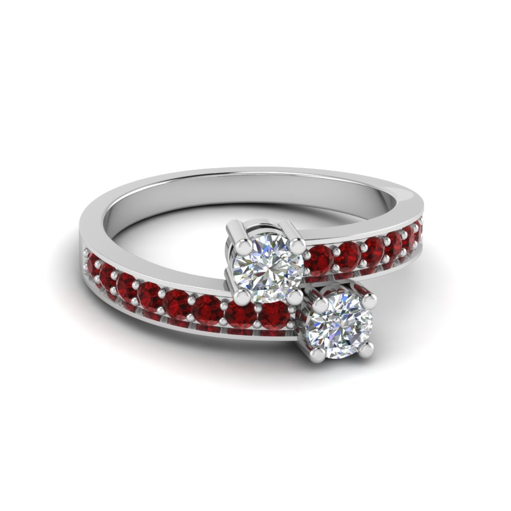 Two Stone Round Diamond with Ruby Accents Engagement Ring